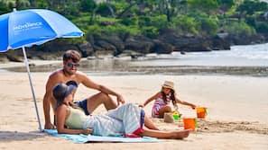 Beach nearby, white sand, free beach shuttle, beach towels