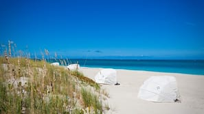 On the beach, white sand, snorkeling, surfing