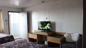 Flat-screen TV, pay movies