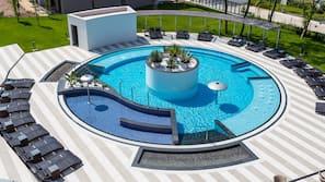 2 indoor pools, seasonal outdoor pool, pool loungers