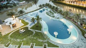 Outdoor pool, open 6 AM to 8 PM, pool umbrellas, pool loungers