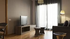 32-inch flat-screen TV with satellite channels