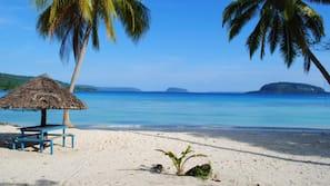 On the beach, white sand, beach shuttle, snorkelling