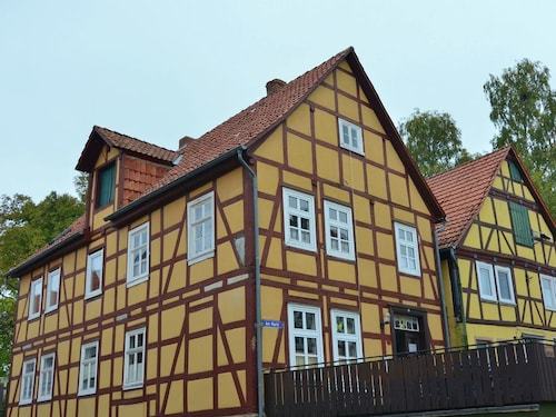 Spacious Half-timbered House on the Market Place of Landau With Terrace and Wood Stove