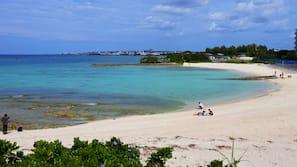 在海灘附近、太陽傘
