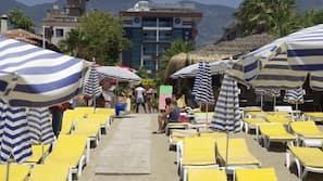 Private beach nearby, sun-loungers, beach umbrellas