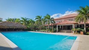 3 outdoor pools, open 8 AM to 8:30 PM, pool umbrellas, sun loungers