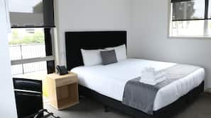 Premium bedding, desk, soundproofing, iron/ironing board