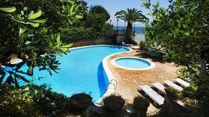 Seasonal outdoor pool, open 8:30 AM to 6:30 PM, pool umbrellas
