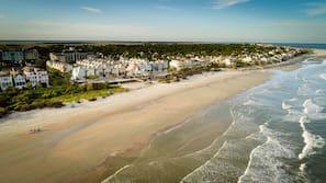 On the beach, beach cabanas