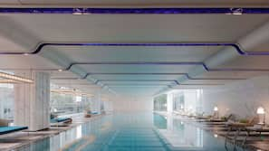 Indoor pool, open 6:00 AM to 11:00 PM, pool umbrellas, sun loungers