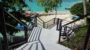 On the beach, beach shuttle