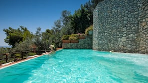 Outdoor pool, open 9:30 AM to 6:00 PM, pool umbrellas, pool loungers