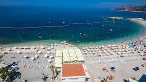 Private beach, free beach shuttle, free beach cabanas, sun loungers