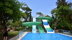 4 indoor pools, 4 outdoor pools, open 7:00 AM to 7:00 PM, pool umbrellas