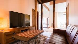 49-inch flat-screen TV with satellite channels, Netflix, iPod dock