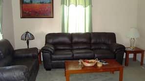 Flat-screen TV, fireplace, DVD player, computer