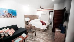 1 bedroom, laptop workspace, blackout drapes, iron/ironing board