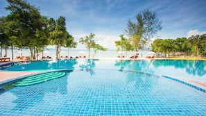 Outdoor pool, open 6 AM to 7:00 PM, pool umbrellas, pool loungers