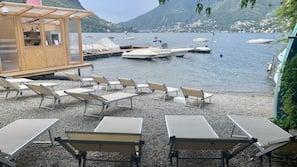 Private beach, sun loungers, beach towels, water skiing