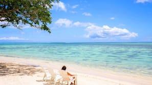 Private beach, white sand, sun loungers