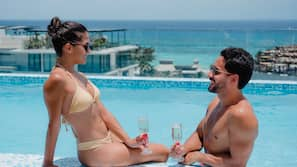 야외 수영장, 수영장 파라솔, 일광욕 의자