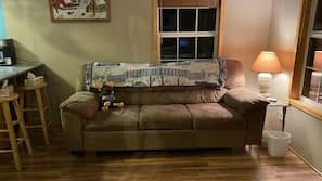 LED TV, fireplace, DVD player, toys