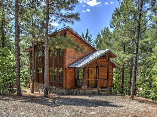 Check Expedia for Availability of Luxury Cabin, Pet ok! Hot Tub, See-through Fireplace, Outdoor Fireplace, Firepit