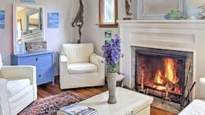 Fireplace, books