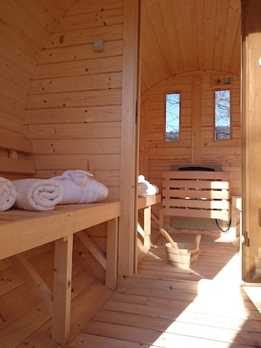 Captivating Fantastic Wooden House With Barrel Saunas, Swim Spa, Wooden Terrace And  Paradise Garden