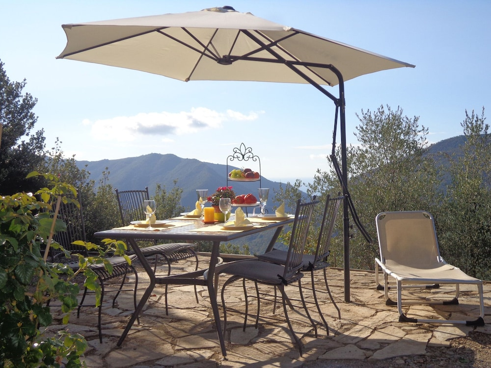 Balcony, Small Natural Stone House Rustico in Italy With Magical Alpine and sea Views