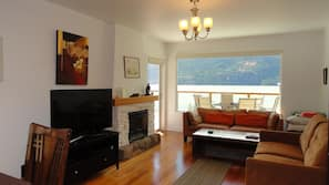 TV, fireplace, books, video library