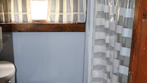 Shower, towels, toilet paper