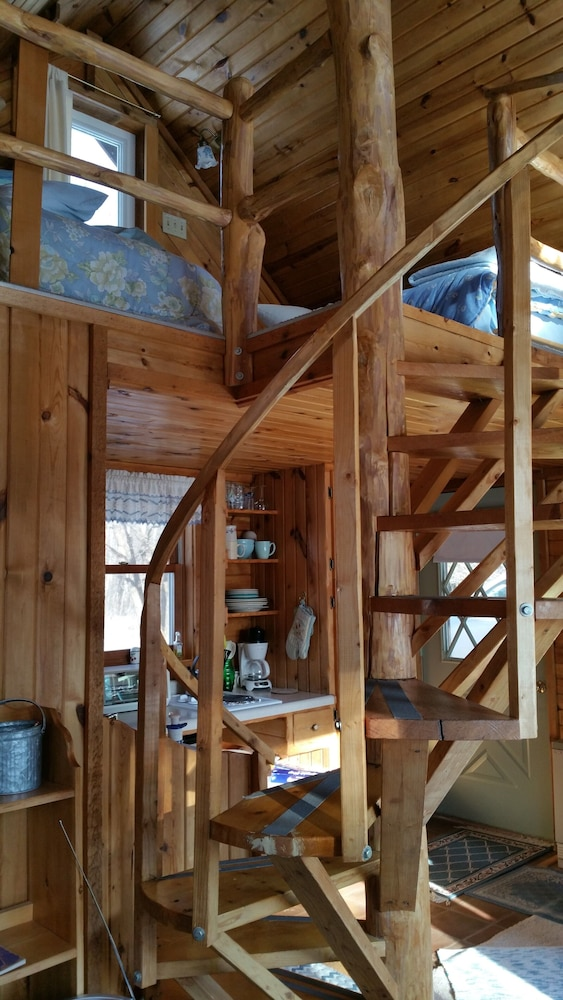 Living Room, Spiral Staircase Leads To The Lofted Bedroom With Wall To Wall Knotty Pine