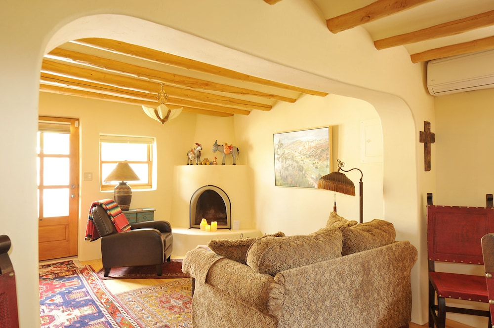 Living Room,  WALK TO DOWNTOWN PLAZA, RAILYARD, AND CANYON ROAD.  HISTORIC ADOBE.