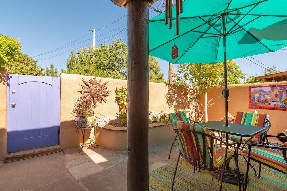 Balcony,  WALK TO DOWNTOWN PLAZA, RAILYARD, AND CANYON ROAD.  HISTORIC ADOBE.