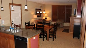 TV, fireplace, DVD player, table tennis table