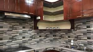 Full-size fridge, oven, stovetop, electric kettle