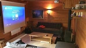 Télévision, cheminée, jeux vidéo, lecteur de DVD