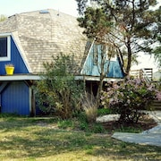 The Blue Pearl: A Retro Dome Home Just Steps Away From Soft, Sandy Beaches!