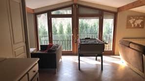 Télévision, cheminée, table de tennis de table
