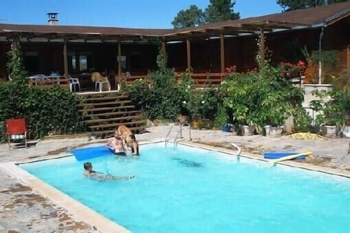 Pool, Two log Houses With Swimming Pool and Sauna in Essoyes, Champagne