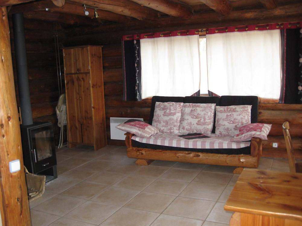 Living Room, Two log Houses With Swimming Pool and Sauna in Essoyes, Champagne