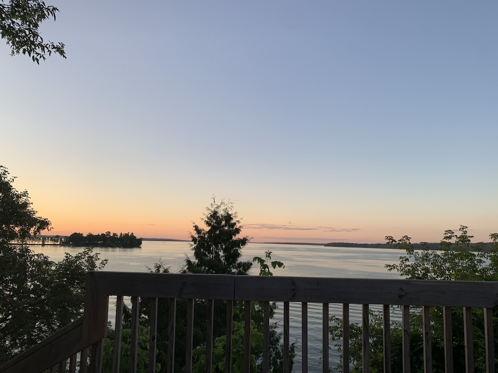 Balcony, 4-season Historic Home in Town, Million Dollar View on Leech Lake!