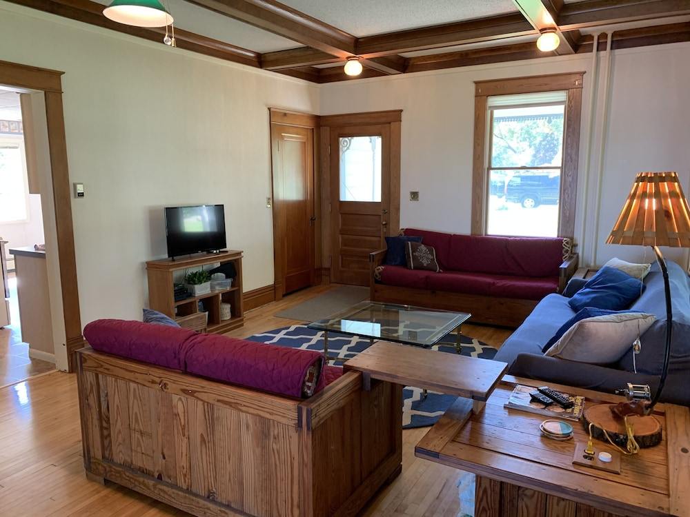 Living Room, 4-season Historic Home in Town, Million Dollar View on Leech Lake!