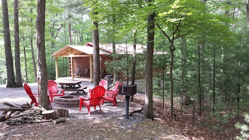 Log Cabin Located In Wooded Area, Seven Points Marina Within 5 Miles