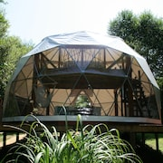 Geodesic Dome With Removeable Roof to Sleep Under the Stars