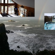 Oceanfront Chalet - Spectacular Views, Hot Tub, Loft, Wifi, Campfire pit
