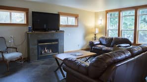 TV, fireplace, DVD player, video library
