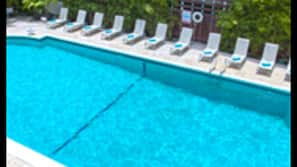 Outdoor pool, open 7:30 AM to 7:30 PM, sun loungers